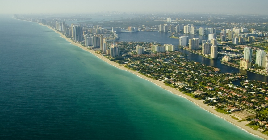 Aerial view of the Miami Beach seashore