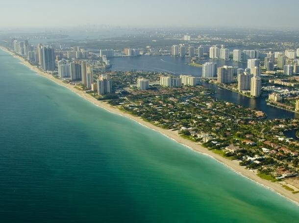 Aerial view of the Miami Beach seashore