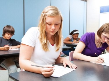Students taking a test in a classroom
