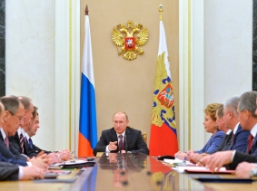 Russian President Vladimir Putin chairs the Security Council in Moscow's Kremlin, December 26, 2014
