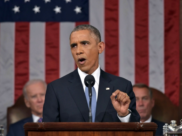 U.S. President Barack Obama delivers his State of the Union address to a joint session of Congress on Capitol Hill in Washington, January 20, 2015