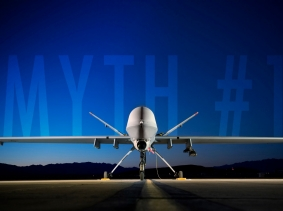 An MQ-9 Reaper sits on the flightline at Creech Air Force Base, NV, photo by Lance Cheung/U.S. Air Force , 080619-F-2907C-674