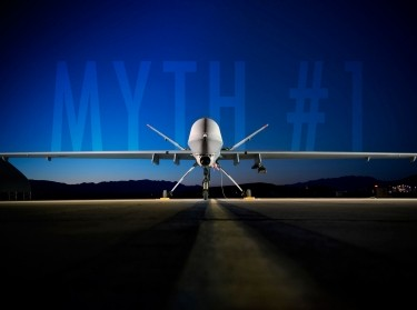 An MQ-9 Reaper sits on the flightline at Creech Air Force Base, NV
