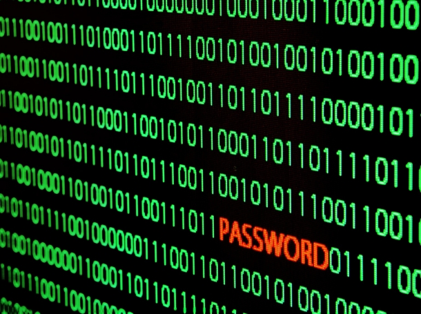 Binary code with 'password' in red