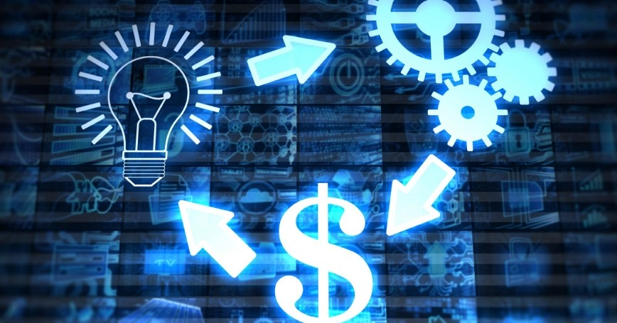 Illustration of idea, solution, and money