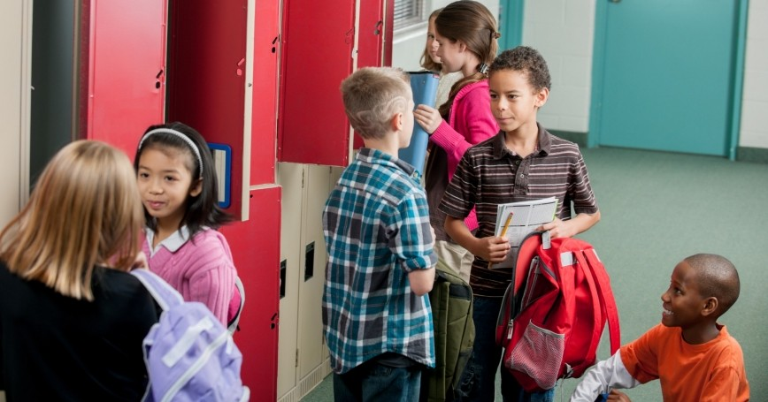 Elementary school students at their lockers