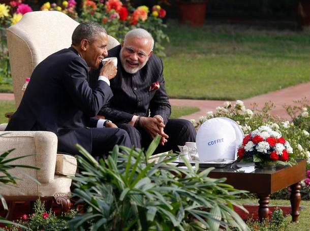 U.S. President Barack Obama and India's Prime Minister Narendra Modi in the gardens of Hyderabad House in New Delhi, January 25, 2015
