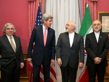 U.S. Energy Secretary Ernest Moniz, U.S. Secretary of State John Kerry, Iran's Foreign Minister Mohammad Javad Zarif, and the head of the Atomic Energy Organization of Iran Ali Akbar Salehi before resuming talks over Iran's nuclear program in Lausanne, March 16, 2015