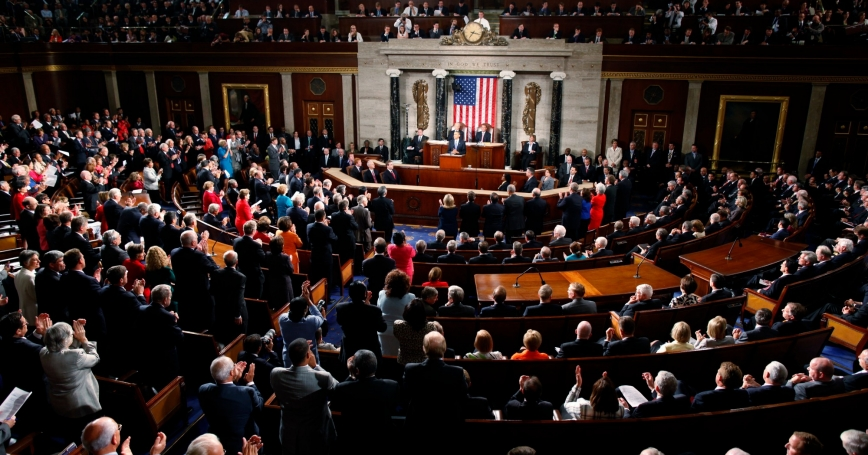 U.S. President Barack Obama receives a standing ovation at a joint session of Congress in the chamber of the House of Representatives in Washington, DC, September 8, 2011