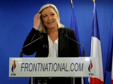 France's far-right Front National leader Marine Le Pen at a news conference in Nanterre, near Paris, March 22, 2015