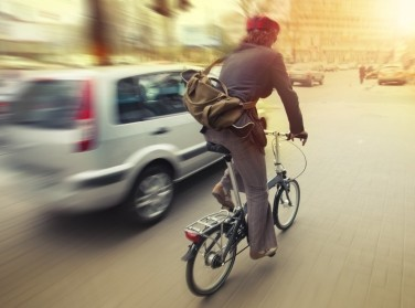 Woman commuting on a bicycle