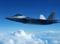 A U.S. Air Force F-22 Raptor flying at Eielson Air Force Base, Alaska