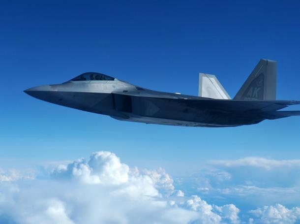 A U.S. Air Force F-22 Raptor flying at Eielson Air Force Base, Alaska