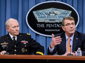 Defense Secretary Ash Carter and Army Gen. Martin E. Dempsey, chairman of the Joint Chiefs of Staff, brief reporters at the Pentagon on April 16, 2015