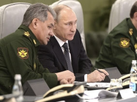 Russian President Vladimir Putin at the national defense control center in Moscow, April 17, 2015
