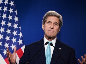 U.S. Secretary of State John Kerry speaks after nuclear talks with Iran in Lausanne, Switzerland, April 2, 2015, photo by Brendan Smialowski/Pool/Reuters