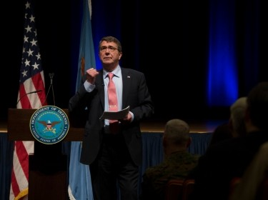 Secretary of Defense Ash Carter speaks to Pentagon personnel, February 19, 2015