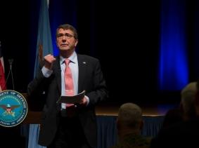 Secretary of Defense Ash Carter speaks to Pentagon personnel, February 19, 2015