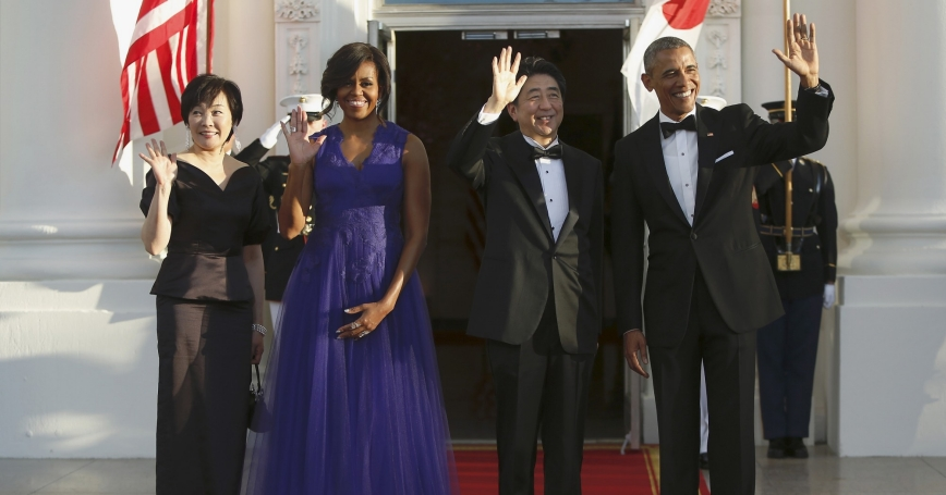 U.S. President Barack Obama and first lady Michelle Obama welcome Japan's Prime Minister Shinzo Abe and his wife Akie Abe  for a State Dinner in their honor at the White House in Washington