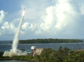 Two Terminal High Altitude Area Defense (THAAD) interceptors are launched during a successful intercept test in September 2013, photo by Missile Defense Agency
