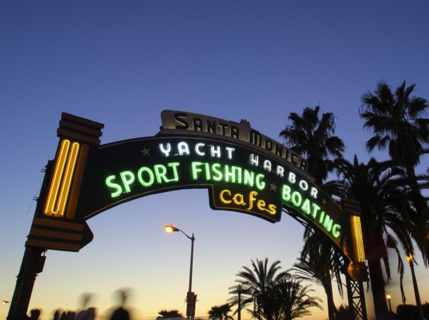The entrance to the Santa Monica Pier at sunset