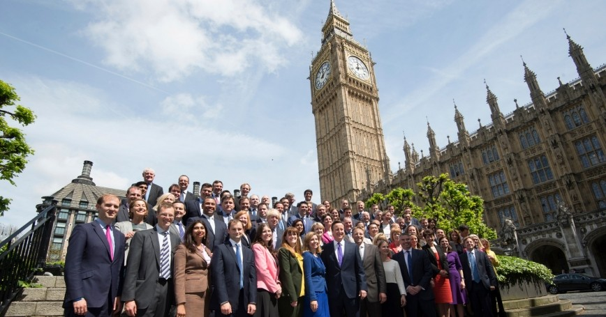 Britain's Prime Minister David Cameron with newly elected Conservative Party MPs in London, May 11, 2015