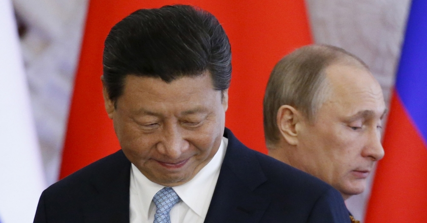 Russia's President Vladimir Putin and China's President Xi Jinping at their meeting at the Kremlin in Moscow, May 8, 2015