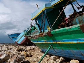 Migrants' boats on the Mediterranean island of Lampedusa