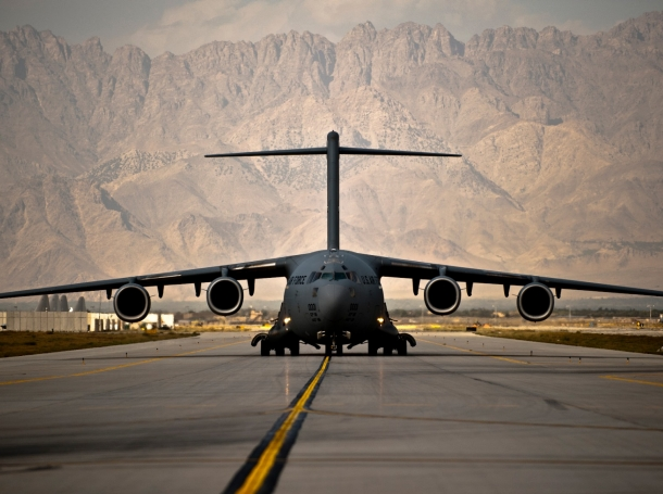 A U.S. Air Force C-17 Globemaster III taxis to its parking spot Bagram Airfield, Afghanistan, Sept. 25, 2012