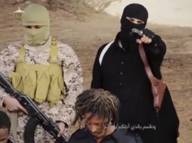 A still from video purportedly of Islamic State militants, posted to social media sites on April 19, 2015