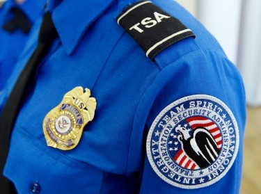 A TSA arm patch and shield at Los Angeles International Airport, California, February 20, 2014
