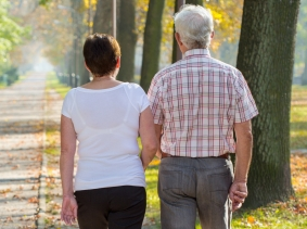 An older couple walking in a park