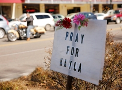 A sign for Kayla Mueller, U.S. aid worker and ISIS hostage, in Prescott, Arizona, February 10, 2015