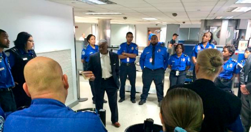 TSA Acting Administrator Melvin Carraway meets with TSA officers at New Orleans International Airport the day after a man attacked security agents and later died in the hospital where he was being treated for gunshot wounds