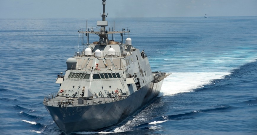 The USS Fort Worth conducts patrols in international waters of the South China Sea, near the Spratly Islands