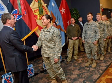 Defense Secretary Ash Carter meets soldiers after delivering remarks on his Force of the Future initiative in Fort Drum, N.Y., March 30, 2015