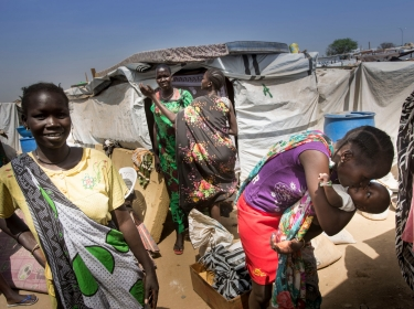 Juba, South Sudan, February 2014: Internally displaced persons in South Sudan find a safe shelter at the UN Hou