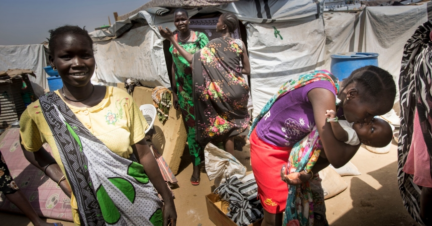 Juba, South Sudan, February 2014: Internally displaced persons in South Sudan find a safe shelter at the UN House IDP Camp