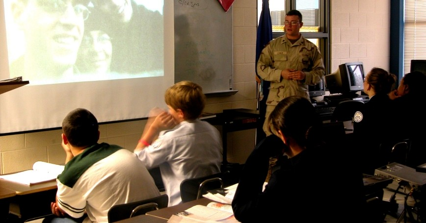 U.S. Army Specialist visits his former high school as part of the Army Special Recruiter Assistance Program