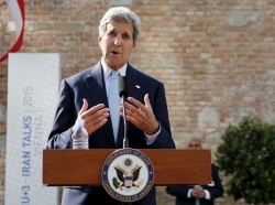 U.S. Secretary of State John Kerry in front of Palais Coburg, the venue for the Iran nuclear talks, Vienna, Austria, July 5, 2015