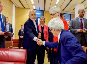 U.S. Secretary of State John Kerry shakes hands with Iranian Foreign Minister Javad Zarif in Vienna, Austria, July 14, 2015, photo by U.S. State Department/Handout via Reuters