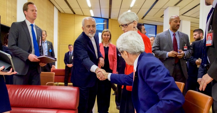 U.S. Secretary of State John Kerry shakes hands with Iranian Foreign Minister Javad Zarif in Vienna, Austria, July 14, 2015