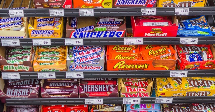 Candy selection in a supermarket