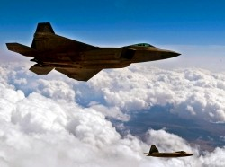 U.S. Air Force F-22 Raptors as they fly over the Nevada Test and Training Range, Nev., March 3, 2011
