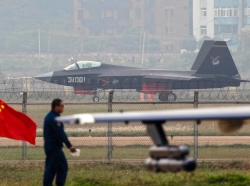 A J-31 stealth fighter of the Chinese People's Liberation Army Air Force landing