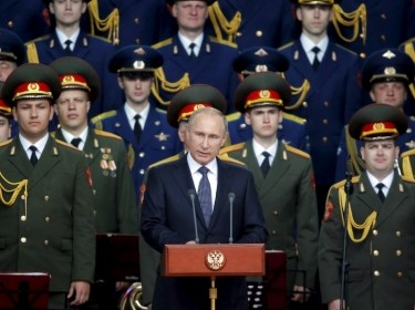 Russian President Vladimir Putin at the opening of the Army-2015 international military forum in Kubinka, Russ