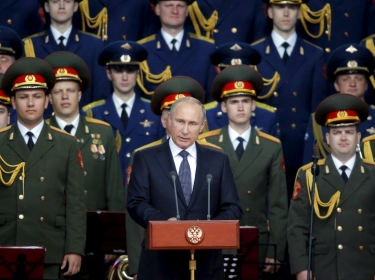Russian President Vladimir Putin at the opening of the Army