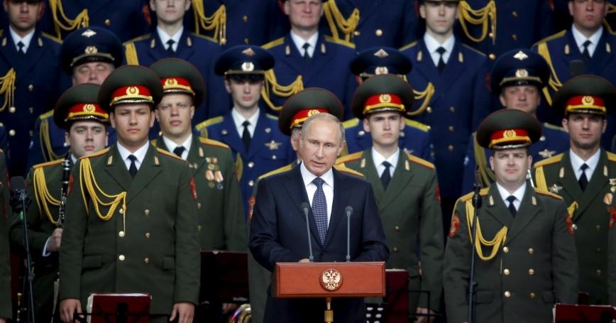 Russian President Vladimir Putin at the opening of the Army-2015 international military forum in Kubinka, Russia, June 16, 2015