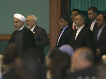 Iran's President Hassan Rouhani arrives to attend the closing statement for the Asian-African Conference in Jakarta April 23, 2015