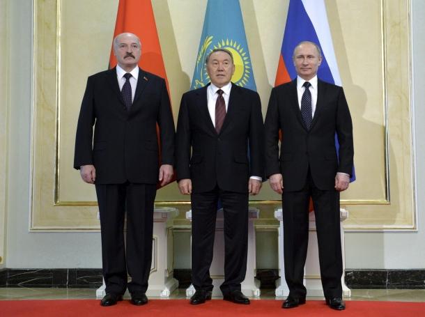 The three main members of the Eurasian Economic Union, Belarus' President Alexander Lukashenko, Kazakhstan's President Nursultan Nazarbayev, and Russia's President Vladimir Putin, meet in Astana March 20, 2015